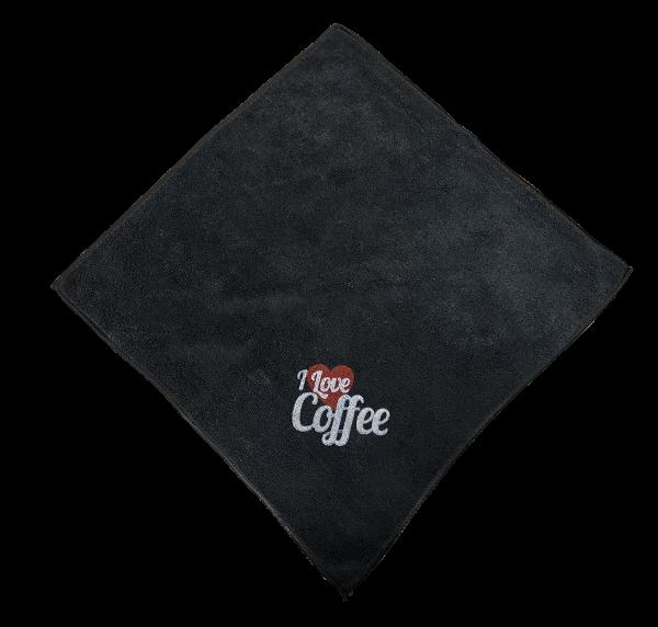 Barista Tuch schwarz mit Aufdruck aus Microfaser