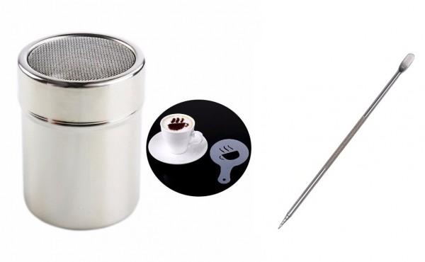 Latte Art Bundle - Schokostreuer mit 16 Schablonen und Pen